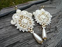 Náušnice - Soutache náušnice Svadobné perličkové Ivory - 9201166_
