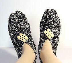 Obuv - vlnené papučky béžovo-čierne - 9196947_