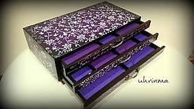 Krabičky - MAXI šperkovnica s 3 zásuvkami- fialová - 9195939_