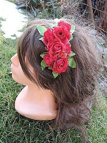 Ozdoby do vlasov - Čelenka červené ružičky - 9199411_