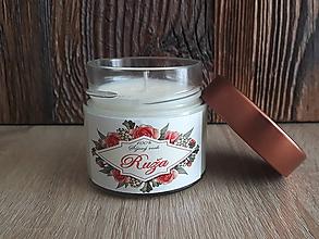 Svietidlá a sviečky - Sviečka zo 100% sójového vosku v skle - Ruža (-30%) - 9196882_