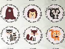 - medailóniky so zvieratkami zelenkavé; 100 % bavlna, šírka 160 cm, cena za 0,5 m - 9199983_
