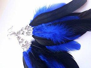Náušnice - Náušnice  - modré -  perie - 9198513_
