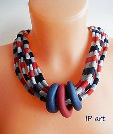 Náhrdelníky - Úpletový bavlněný náhrdelník s FIMO kroužky - 9197186_