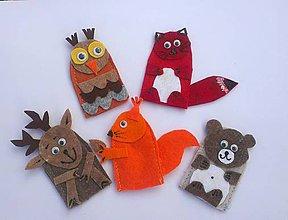 Hračky - Prstové maňušky. V lese - sada 5 zvieratiek - 9199837_