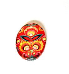 Komponenty - folklorny kaboson - cerveny kvet 18x13mm - 9199201_