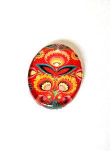 Komponenty - folklorny kaboson - cerveny kvet 30x20mm - 9199398_