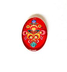 Komponenty - folklorny kaboson - cerveny kvet II 18x13mm - 9199413_