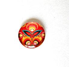 Komponenty - folklorny kaboson - cerveny kvet - 20mm - 9199472_