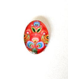 Komponenty - folklorny kaboson - cerveny tulipan 18x13mm - 9199548_
