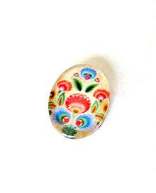 Komponenty - folklorny kaboson - kremo tulipan 18x13mm - 9200013_