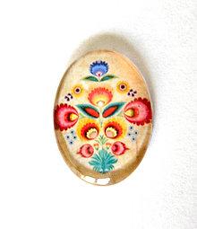 Komponenty - folklorny kaboson - kremo kvet 18x13mm - 9200122_