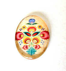 Komponenty - folklorny kaboson - kremo kvet 30x22mm - 9200156_