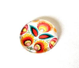 Komponenty - folklorny kaboson - biely kvet 20mm - 9200497_