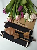 - Pánsky set - drevený motýlik a traky - 9196194_