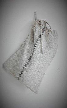 Úžitkový textil - Vrecko na veľký chlieb a pečivo z ručne tkaného ľanu 41 x 30 cm - 9196867_