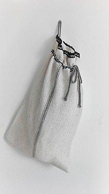 Úžitkový textil - Vrecko na veľký chlieb a pečivo z ručne tkaného ľanu - jemne cifrované 46,5 x 29cm - 9197033_