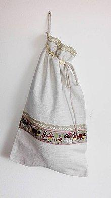 Úžitkový textil - Ľanové vrecko na veľký chlieb vidiekom cifrované 51 x 31cm - 9198071_
