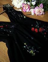 Šaty - Ručne maľované krásne čierne šaty - 9196179_