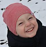 Detské čiapky - Dvojvrstvová detská merino čiapka červený šmolko (obvod 42cm) - 9201290_