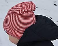 Detské čiapky - Dvojvrstvová detská merino čiapka červený šmolko (obvod 42cm) - 9201293_