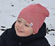 Detské čiapky - Dvojvrstvová detská merino čiapka červený šmolko (obvod 42cm) - 9201294_