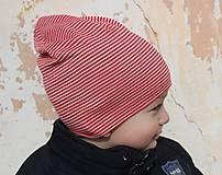 Detské čiapky - Dvojvrstvová detská merino čiapka červený šmolko (obvod 42cm) - 9201300_