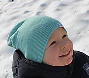 Detské čiapky - Dvojvrstvová detská merino čiapka tyrkysový šmolko - 9201310_