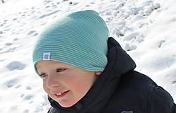 Detské čiapky - Dvojvrstvová detská merino čiapka tyrkysový šmolko - 9201311_