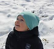 Detské čiapky - Dvojvrstvová detská merino čiapka tyrkysový šmolko - 9201312_