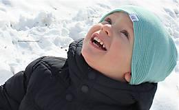 Detské čiapky - Dvojvrstvová detská merino čiapka tyrkysový šmolko - 9201313_