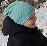 Detské čiapky - Dvojvrstvová detská merino čiapka tyrkysový šmolko - 9201314_