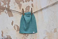 Detské čiapky - Dvojvrstvová detská merino čiapka tyrkysový šmolko - 9201326_