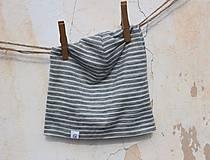 Detské čiapky - Dvojvrstvová merino čiapka sivý pásik - deti aj dospelák - 9201344_