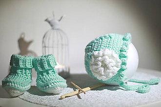 Detské čiapky - Čepček + topánočky- svetlo zelená - 9199234_