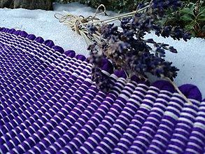 Úžitkový textil - Levanduľový ručne tkaný koberec - 9201458_