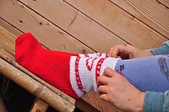Obuv - bielo-červené ponožky - 9199735_