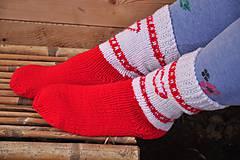 Obuv - bielo-červené ponožky - 9199741_