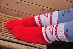 Obuv - bielo-červené ponožky - 9199746_