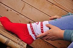 Obuv - bielo-červené ponožky - 9199751_