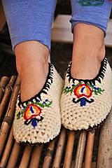 - papuče s výšivkou a koženou podrážkou č.39-40 - 9199951_