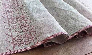 Úžitkový textil - Lněná štola na stůl s výšivkou I - 9196049_