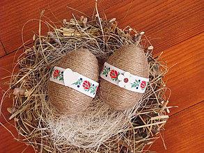 Dekorácie - Folklórne jutové veľkonočné vajcia - sada 2ks - 9196331_