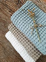 Úžitkový textil - Ľanový uterák Natural I (Modrá) - 9201079_