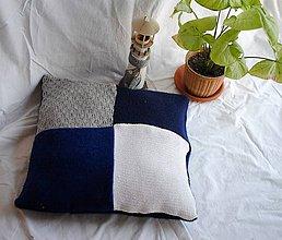 Úžitkový textil - Modrobiely vankúš malý - 9198137_