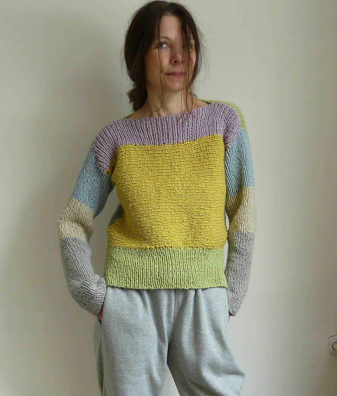 Svetre/Pulóvre - žltošedý pastelový pulover - 9200360_