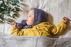 Detské čiapky - Pletený pixie čepček s dvoma brmbolcami - starofialová tmavá - 9203119_