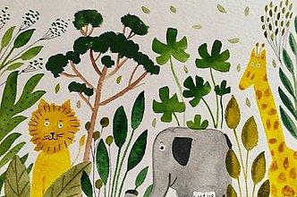Papiernictvo - Safari  pohľadnica  ilustrácia  / originál maľba  - 9205017_