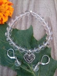 Sady šperkov - Krištáľový set- náramok so srdiečkom a náušnice - 9203167_