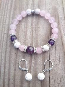 Sady šperkov - Elegantný set- náramok z ruženínu, ametystu a bieleho lávového kameňa a náušnice - 9203339_